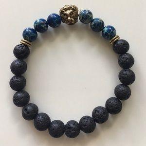 Other - Men's lava stone beaded lion bracelet